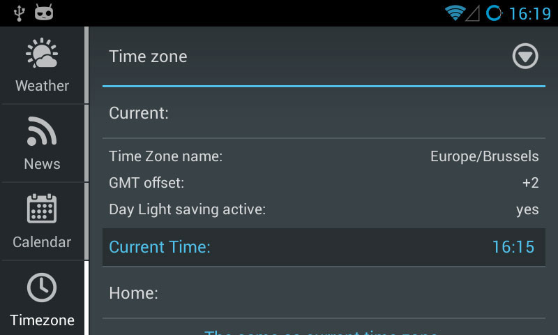 Time zone  tab