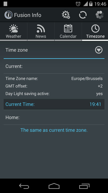 Info widget time zone